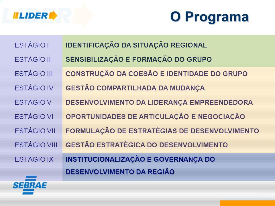 O Programa ESTÁGIO I IDENTIFICAÇÃO DA SITUAÇÃO REGIONAL