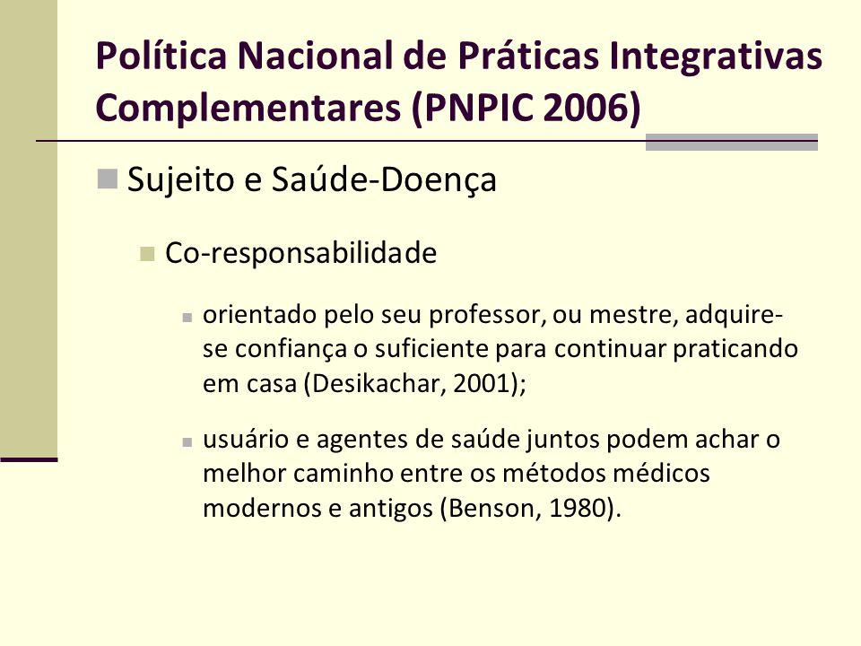 Política Nacional de Práticas Integrativas Complementares (PNPIC 2006)