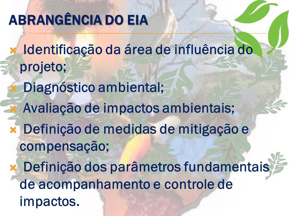 ABRANGÊNCIA DO EIA Identificação da área de influência do projeto; Diagnóstico ambiental; Avaliação de impactos ambientais;