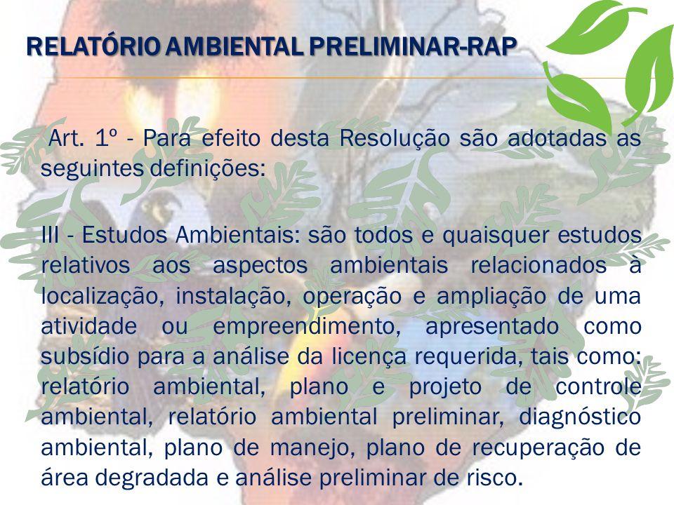 RELATÓRIO AMBIENTAL PRELIMINAR-RAP
