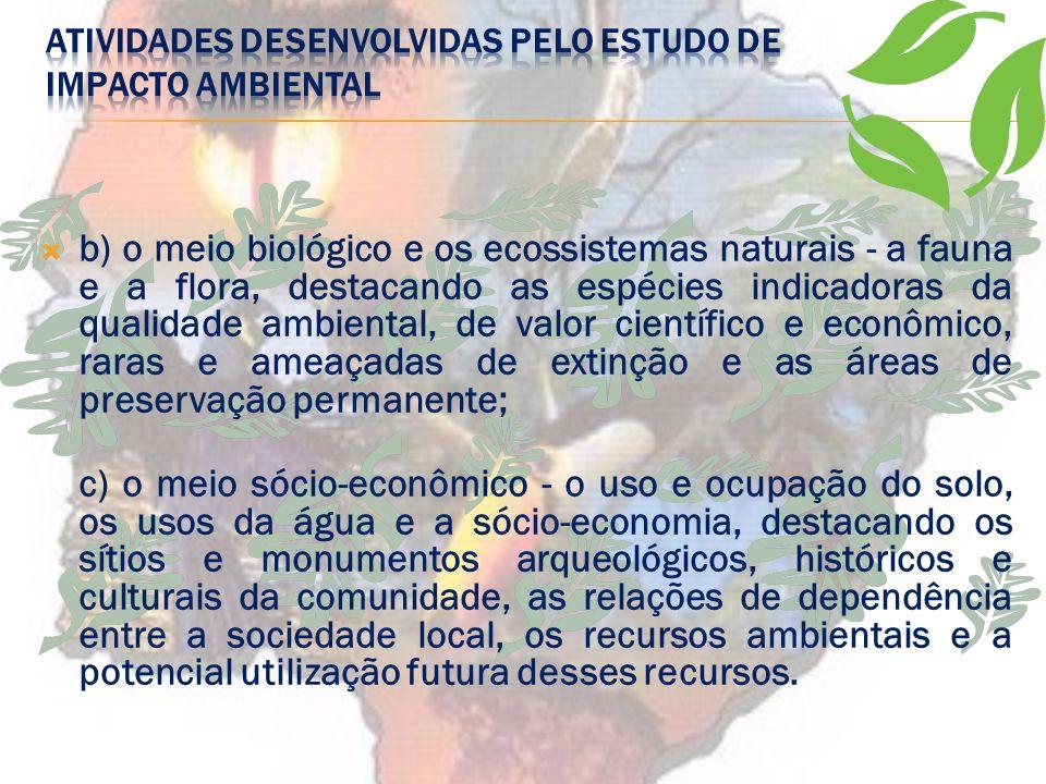ATIVIDADES DESENVOLVIDAS PELO ESTUDO DE IMPACTO AMBIENTAL