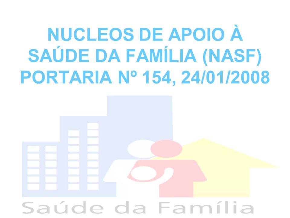 NUCLEOS DE APOIO À SAÚDE DA FAMÍLIA (NASF) PORTARIA Nº 154, 24/01/2008
