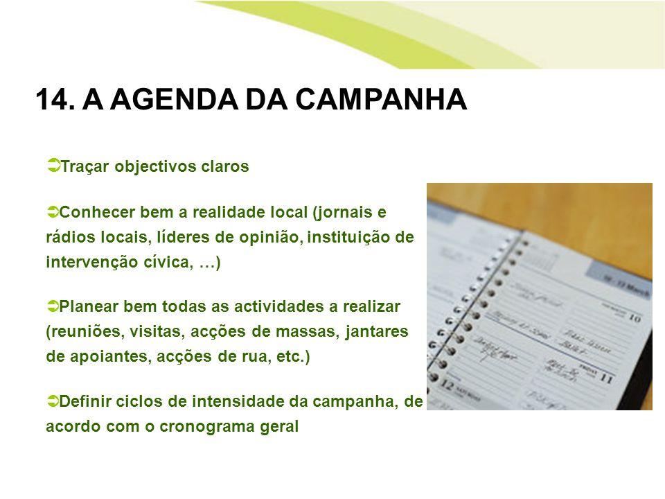 14. A AGENDA DA CAMPANHA Traçar objectivos claros