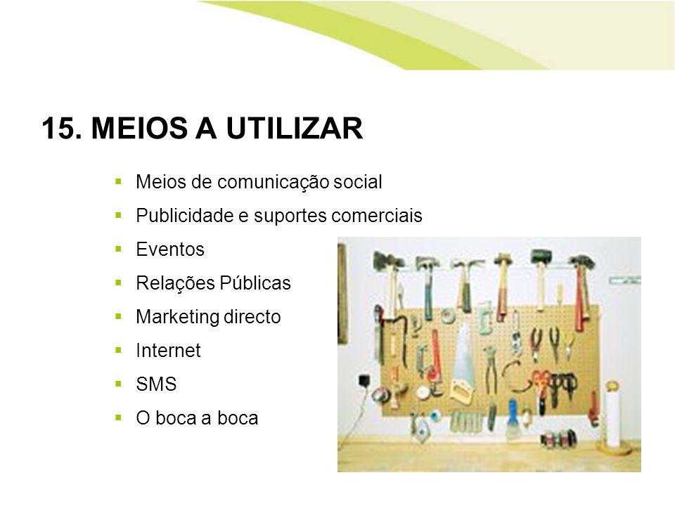 15. MEIOS A UTILIZAR Meios de comunicação social