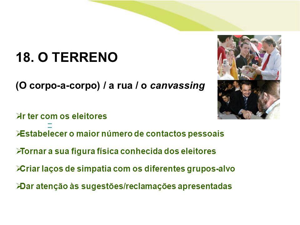 18. O TERRENO (O corpo-a-corpo) / a rua / o canvassing