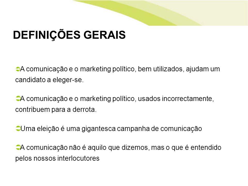 DEFINIÇÕES GERAIS A comunicação e o marketing político, bem utilizados, ajudam um candidato a eleger-se.