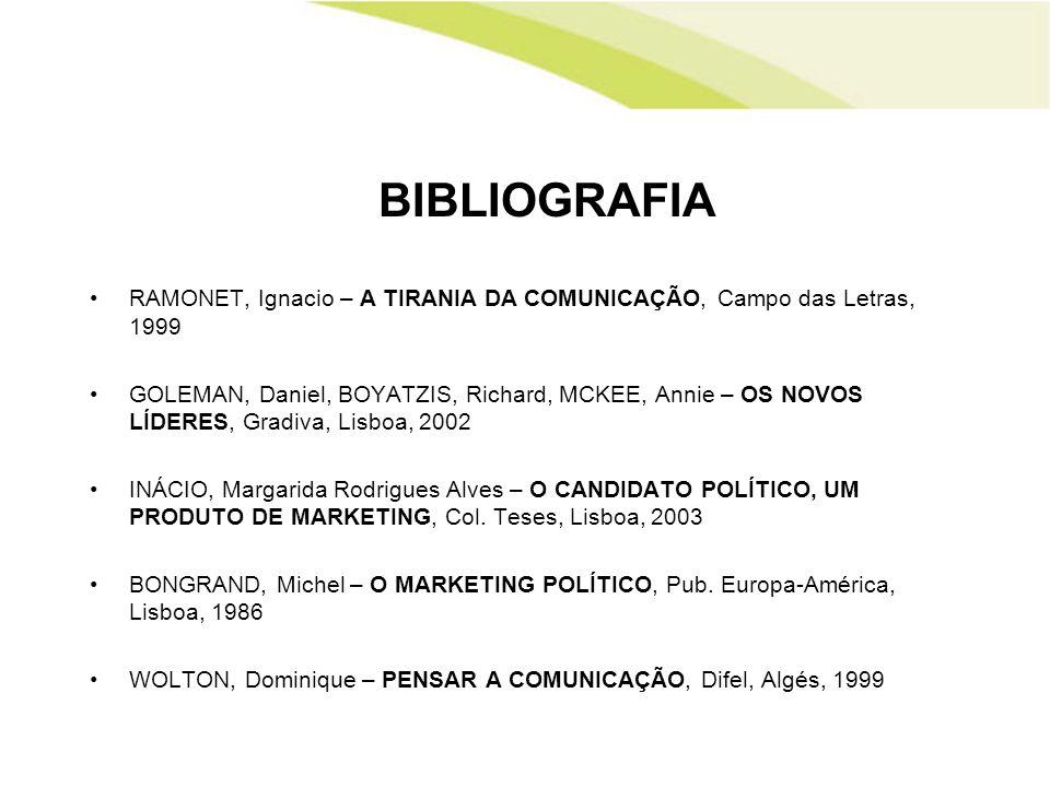 BIBLIOGRAFIA RAMONET, Ignacio – A TIRANIA DA COMUNICAÇÃO, Campo das Letras, 1999.