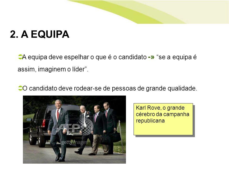 2. A EQUIPA A equipa deve espelhar o que é o candidato -» se a equipa é assim, imaginem o líder .