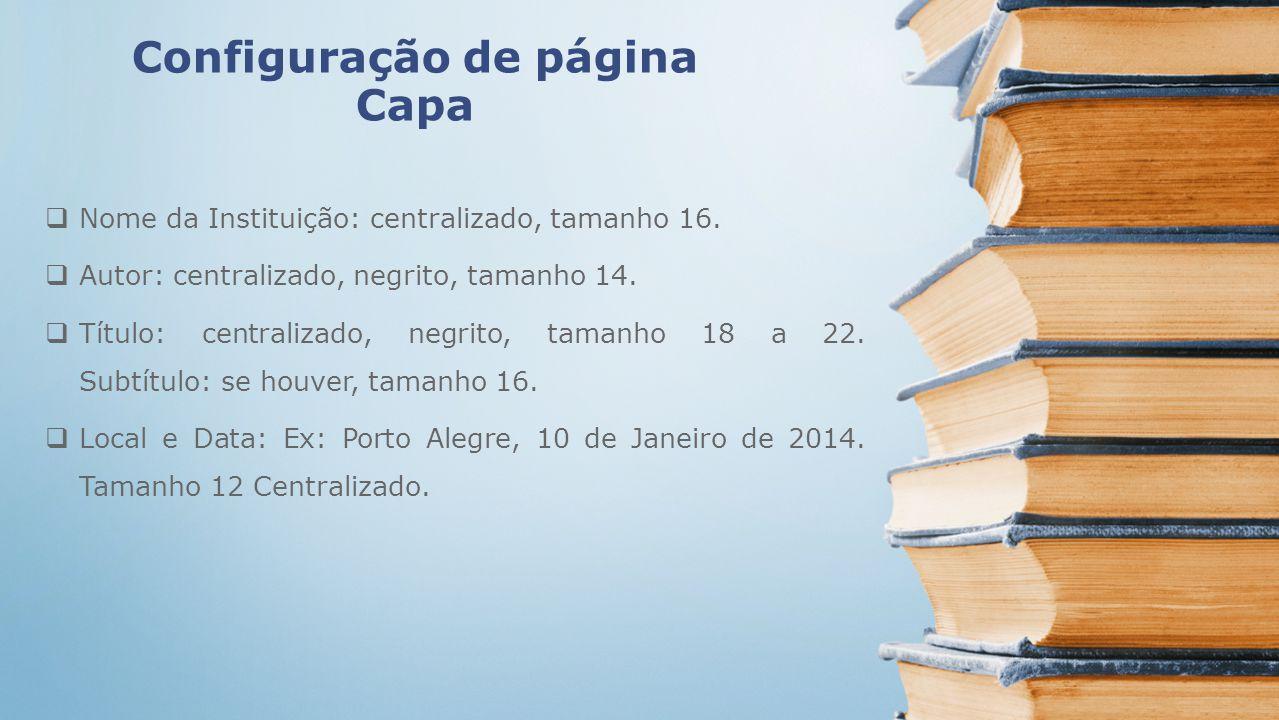 Configuração de página Capa