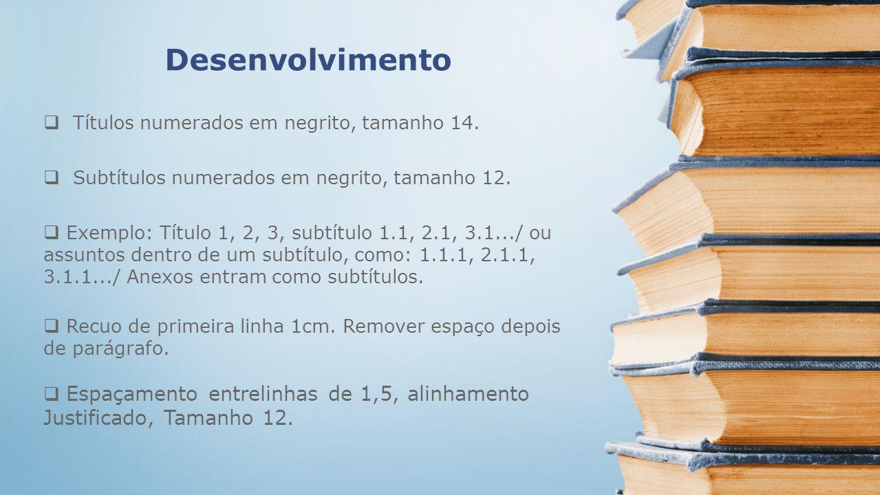 Desenvolvimento Títulos numerados em negrito, tamanho 14.