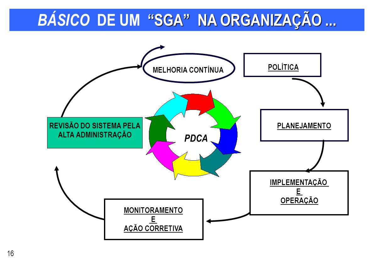 BÁSICO DE UM SGA NA ORGANIZAÇÃO ...