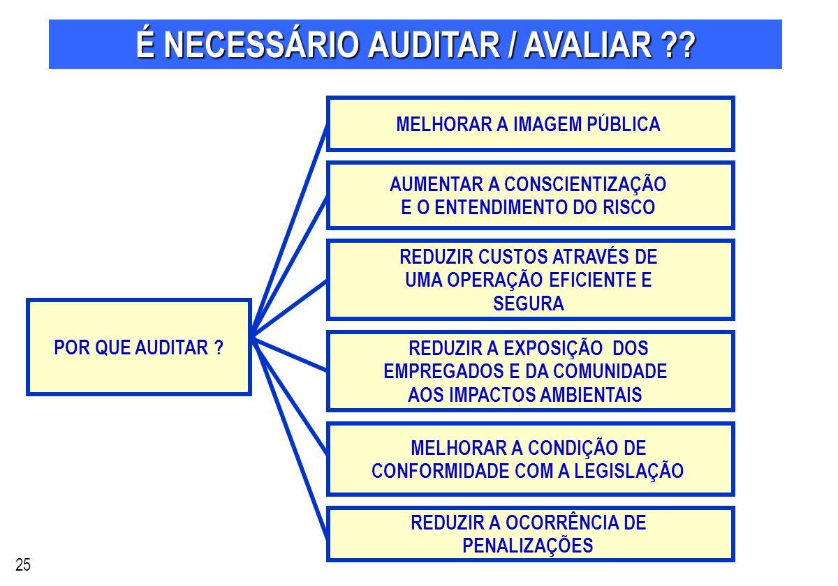 É NECESSÁRIO AUDITAR / AVALIAR