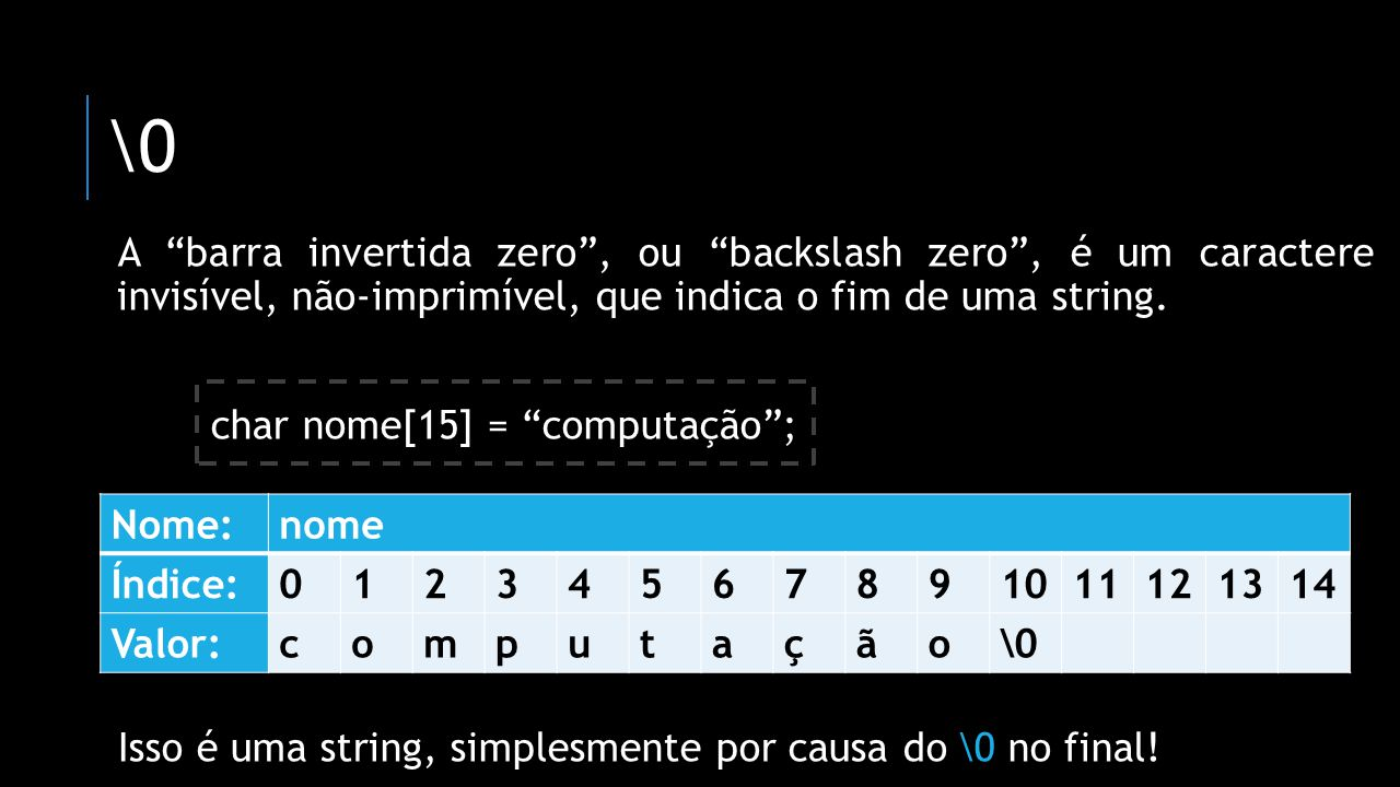 \0 A barra invertida zero , ou backslash zero , é um caractere invisível, não-imprimível, que indica o fim de uma string.