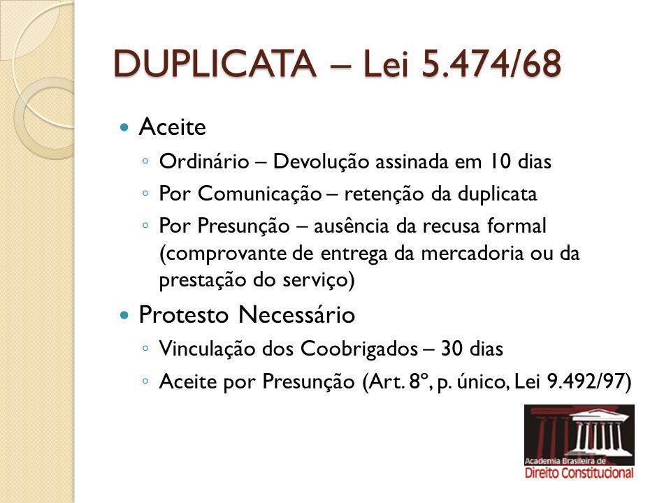 DUPLICATA – Lei 5.474/68 Aceite Protesto Necessário