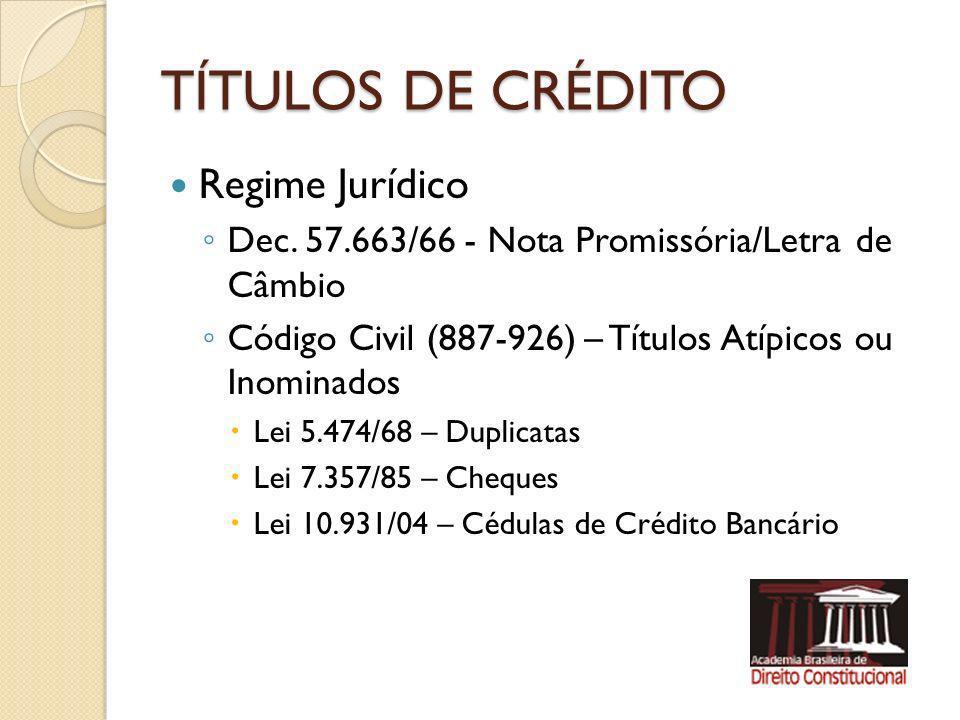 TÍTULOS DE CRÉDITO Regime Jurídico