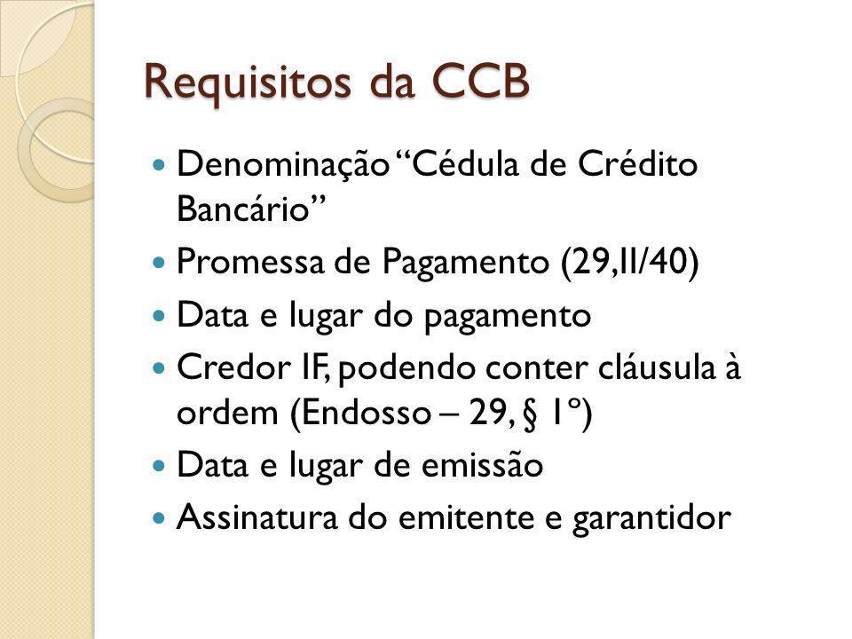 Requisitos da CCB Denominação Cédula de Crédito Bancário