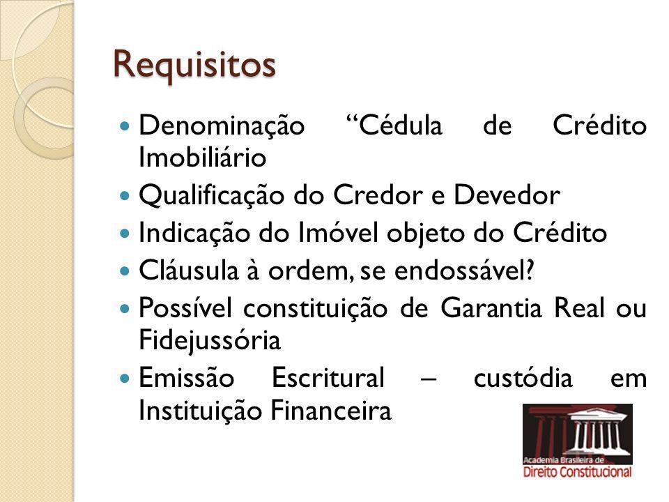 Requisitos Denominação Cédula de Crédito Imobiliário