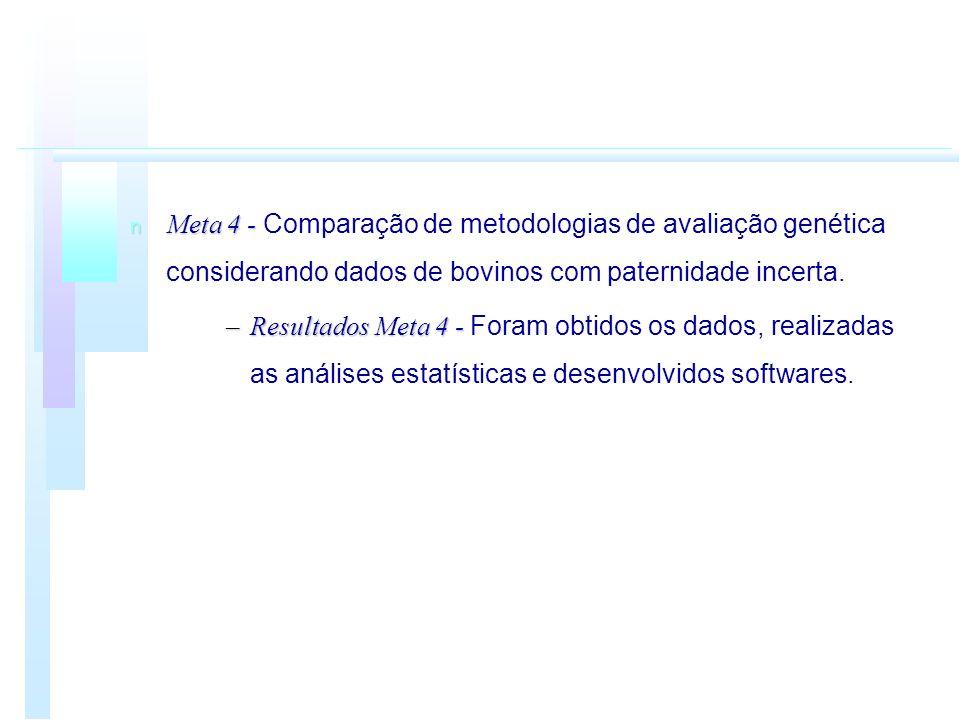 Meta 4 - Comparação de metodologias de avaliação genética considerando dados de bovinos com paternidade incerta.