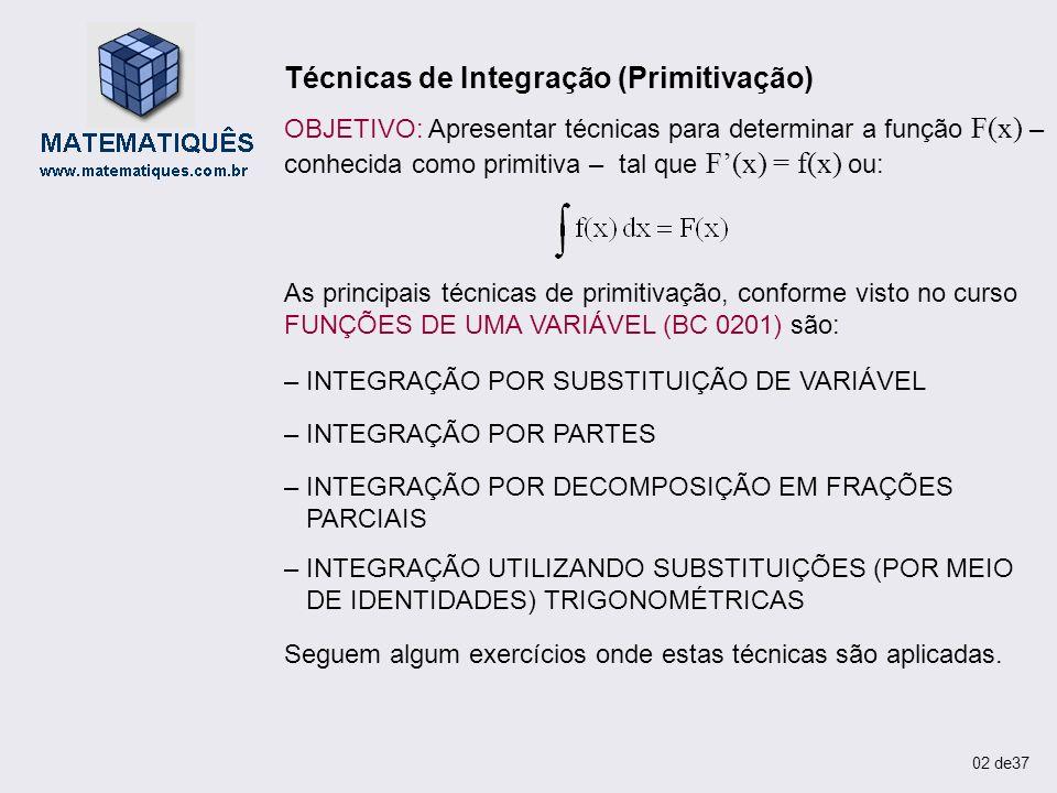Técnicas de Integração (Primitivação)