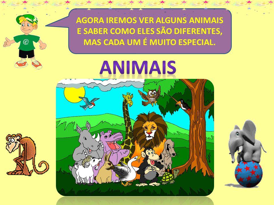 AGORA IREMOS VER ALGUNS ANIMAIS E SABER COMO ELES SÃO DIFERENTES, MAS CADA UM É MUITO ESPECIAL.