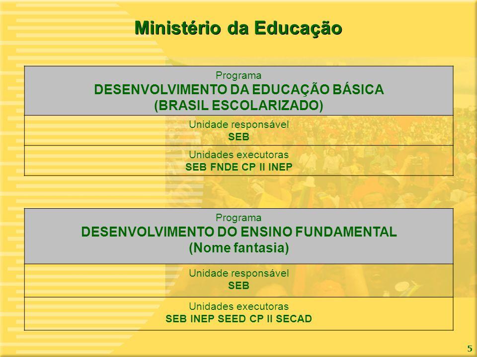 Ministério da Educação (BRASIL ESCOLARIZADO) SEB INEP SEED CP II SECAD