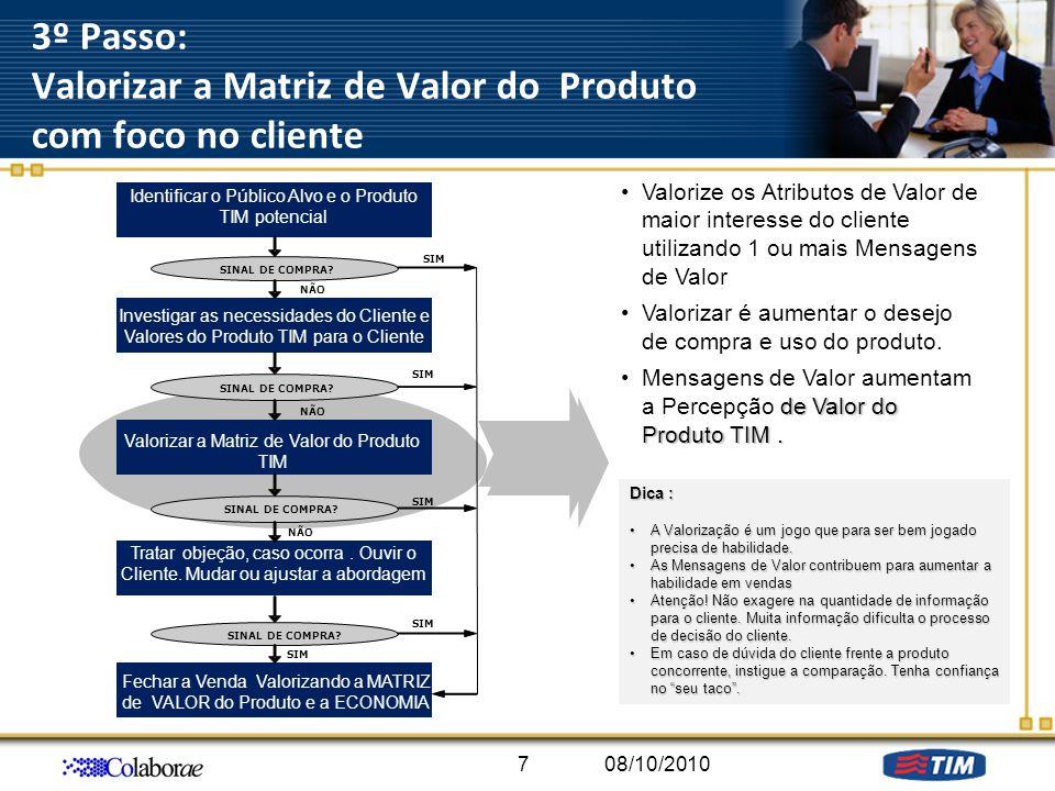3º Passo: Valorizar a Matriz de Valor do Produto com foco no cliente