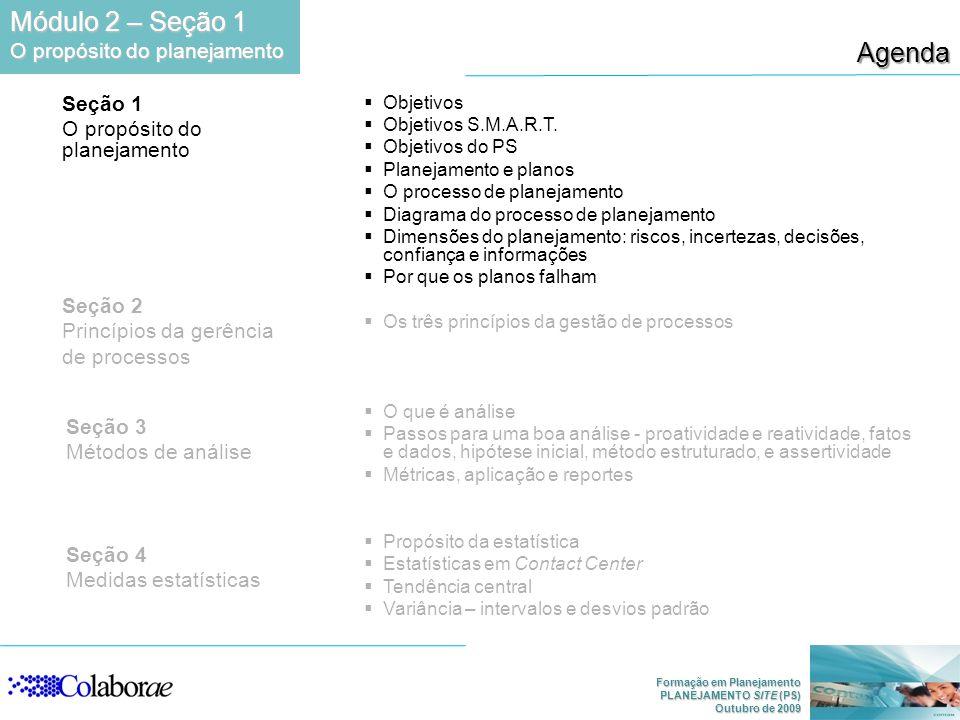 Módulo 2 – Seção 1 Agenda O propósito do planejamento Seção 1