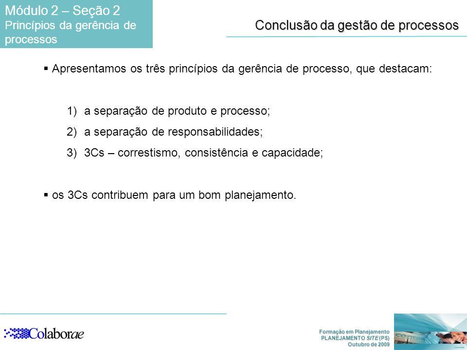Conclusão da gestão de processos