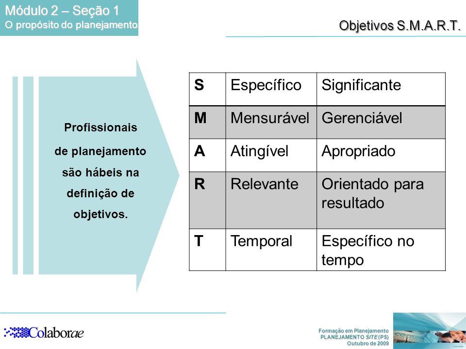 de planejamento são hábeis na definição de objetivos.
