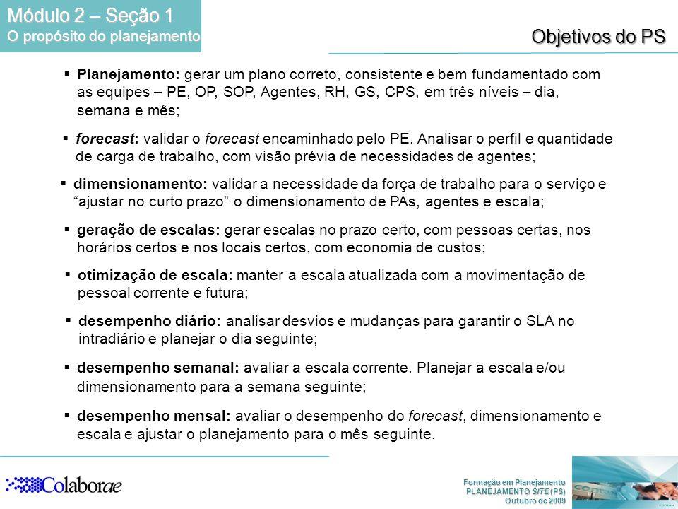 Módulo 2 – Seção 1 Objetivos do PS O propósito do planejamento