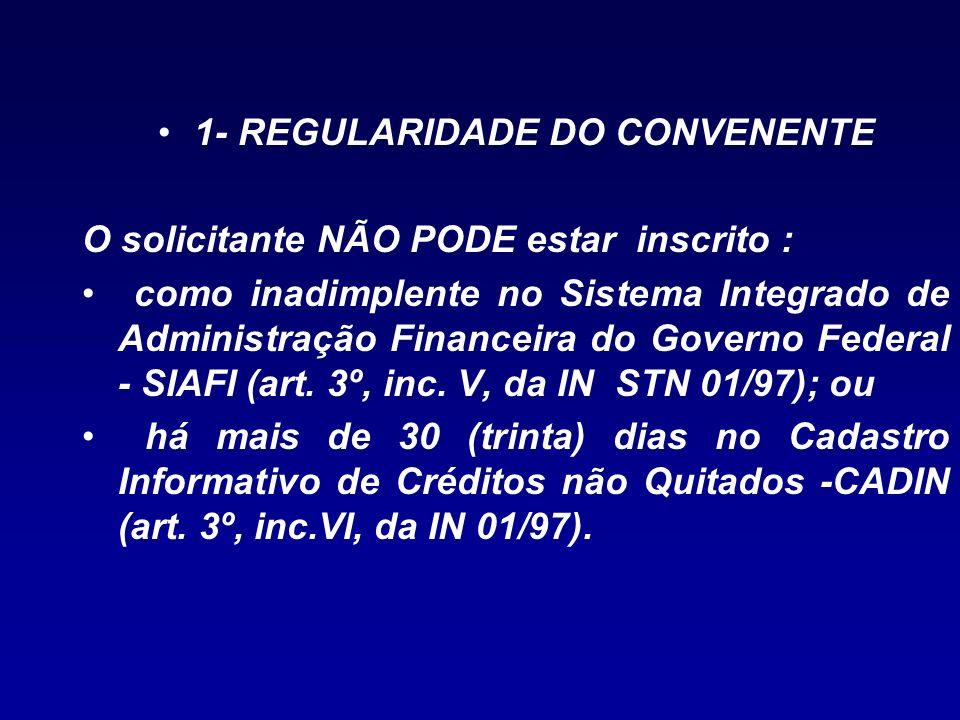 1- REGULARIDADE DO CONVENENTE