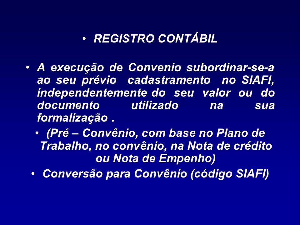 Conversão para Convênio (código SIAFI)