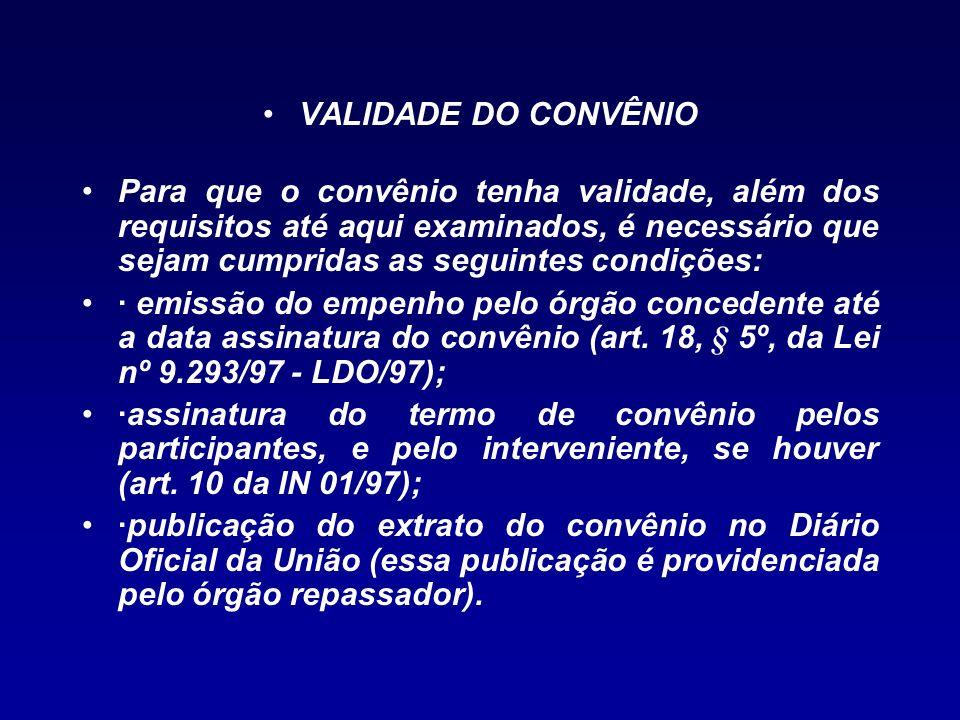 VALIDADE DO CONVÊNIO