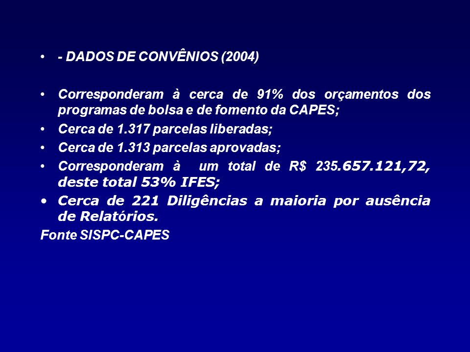 - DADOS DE CONVÊNIOS (2004)Corresponderam à cerca de 91% dos orçamentos dos programas de bolsa e de fomento da CAPES;