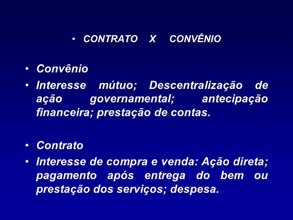CONTRATO X CONVÊNIO Convênio. Interesse mútuo; Descentralização de ação governamental; antecipação financeira; prestação de contas.
