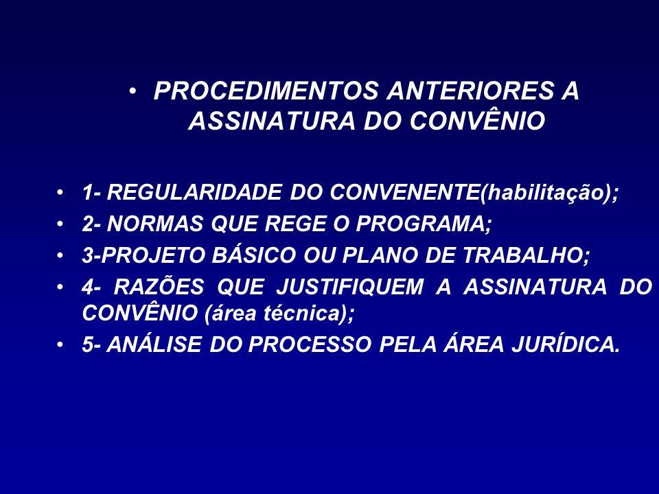 PROCEDIMENTOS ANTERIORES A ASSINATURA DO CONVÊNIO
