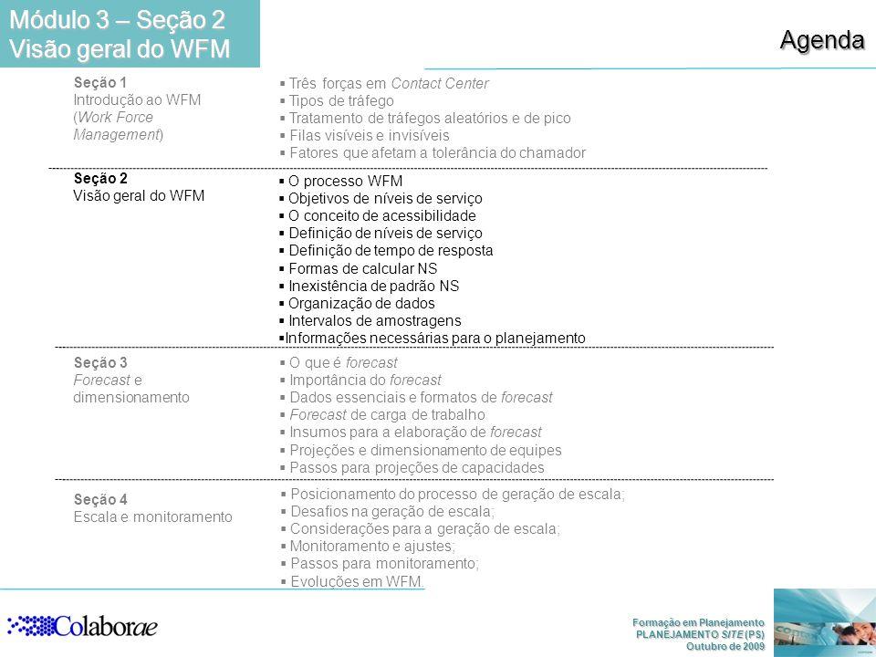 Módulo 3 – Seção 2 Visão geral do WFM Agenda Seção 1 Introdução ao WFM