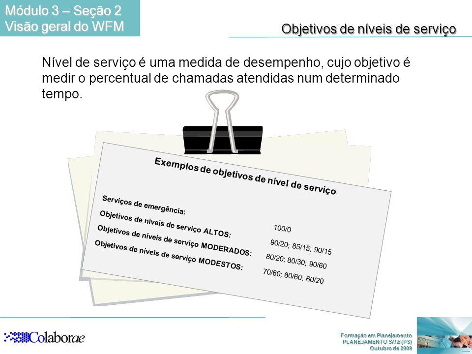 Exemplos de objetivos de nível de serviço