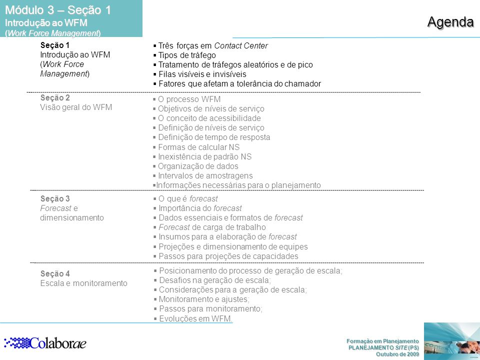 Agenda Módulo 3 – Seção 1 Introdução ao WFM (Work Force Management)