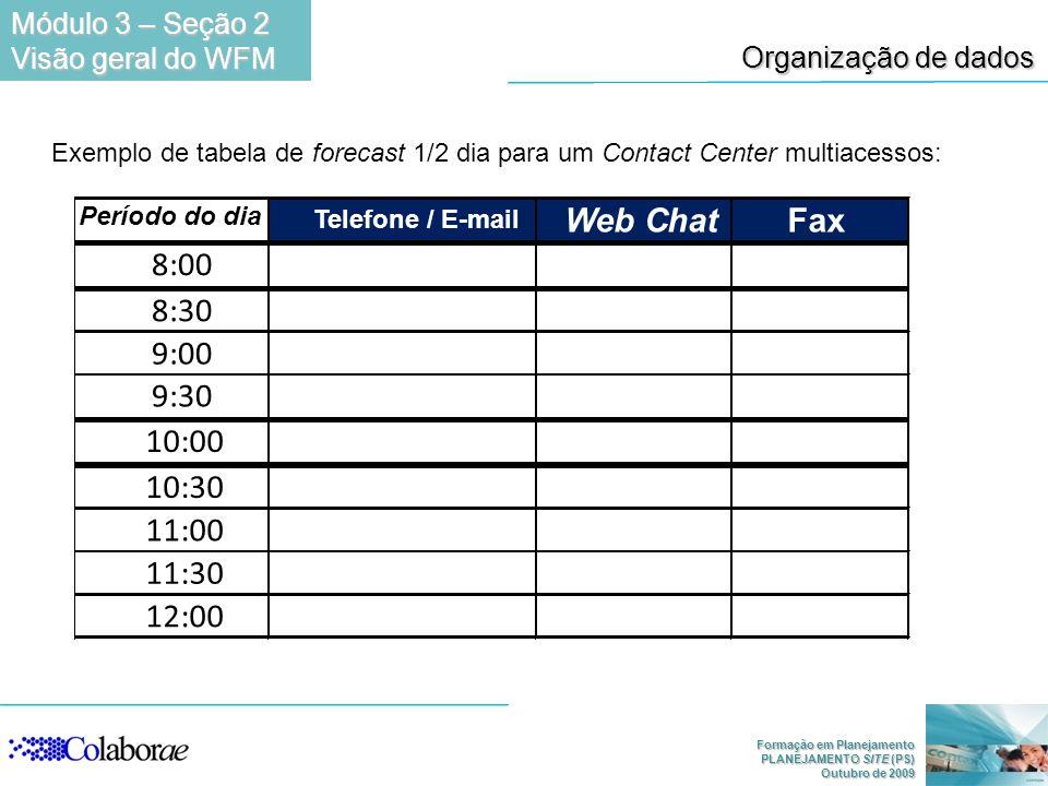 Módulo 3 – Seção 2 Visão geral do WFM. Organização de dados. Exemplo de tabela de forecast 1/2 dia para um Contact Center multiacessos: