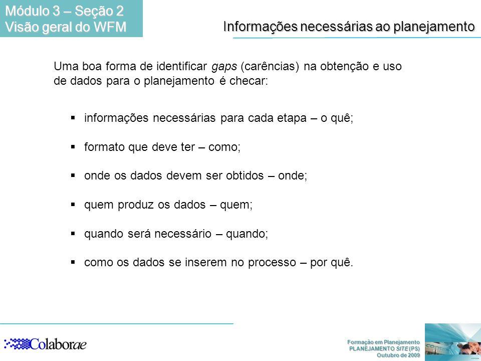 Informações necessárias ao planejamento