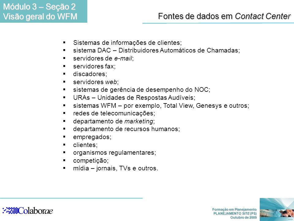 Fontes de dados em Contact Center