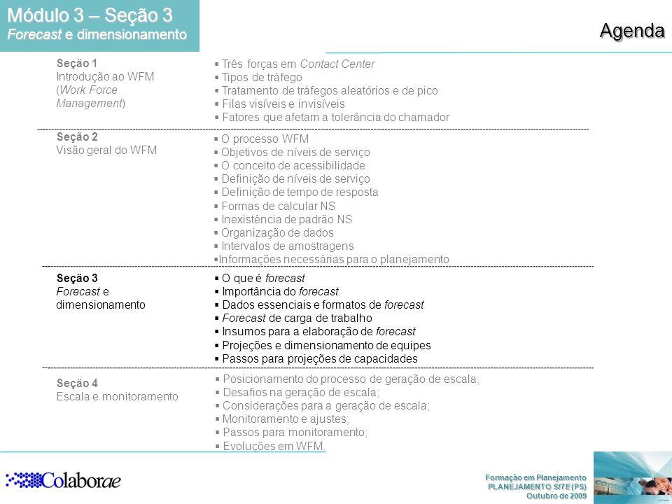 Módulo 3 – Seção 3 Agenda Forecast e dimensionamento Seção 1