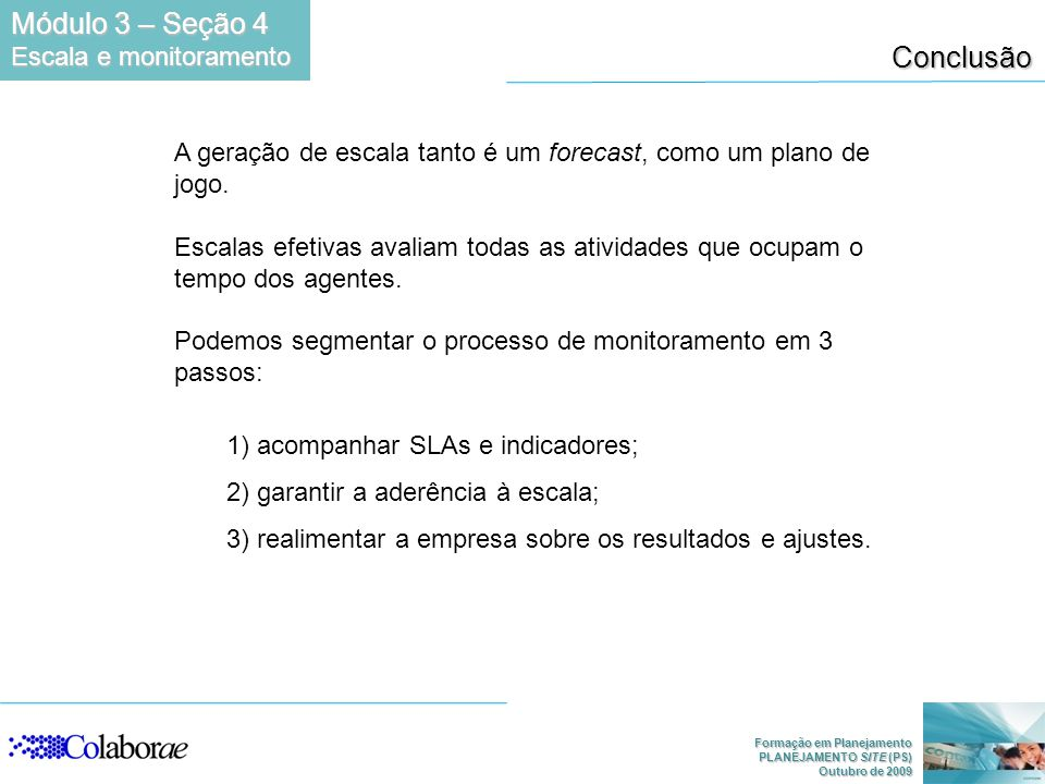 Módulo 3 – Seção 4 Conclusão Escala e monitoramento