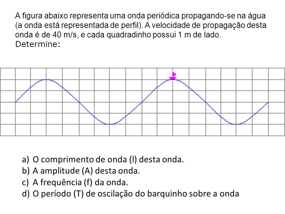 O comprimento de onda (l) desta onda. A amplitude (A) desta onda.