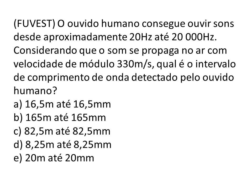 (FUVEST) O ouvido humano consegue ouvir sons desde aproximadamente 20Hz até 20 000Hz. Considerando que o som se propaga no ar com velocidade de módulo 330m/s, qual é o intervalo de comprimento de onda detectado pelo ouvido humano