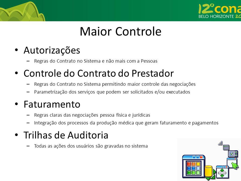 Maior Controle Autorizações Controle do Contrato do Prestador