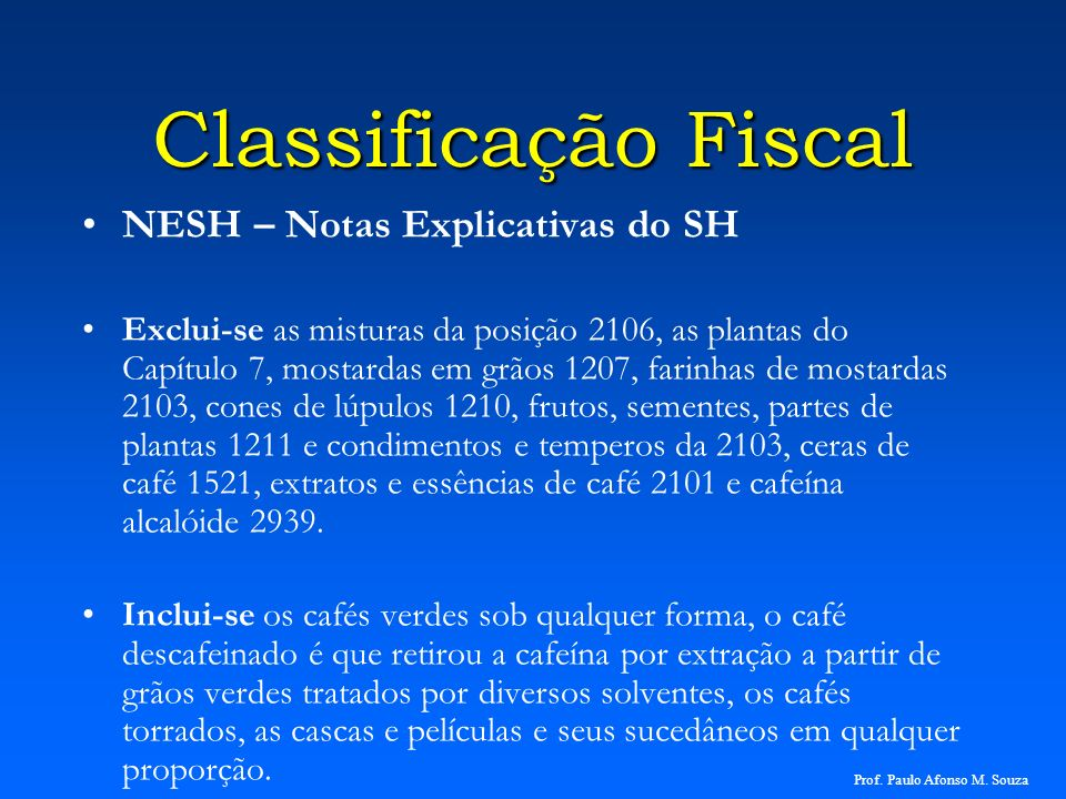 Classificação Fiscal NESH – Notas Explicativas do SH