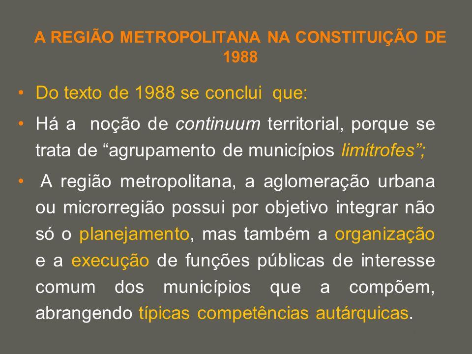 A REGIÃO METROPOLITANA NA CONSTITUIÇÃO DE 1988