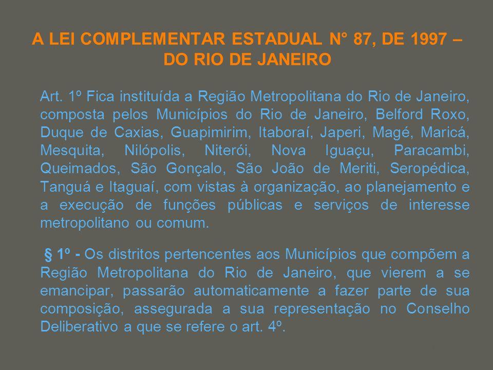 A LEI COMPLEMENTAR ESTADUAL N° 87, DE 1997 – DO RIO DE JANEIRO